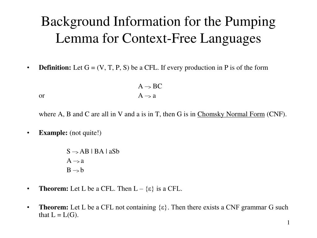 ppt background information for the pumping lemma for context free