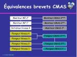 quivalences brevets cmas