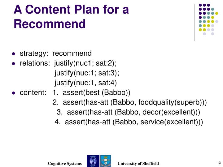 A Content Plan for a Recommend