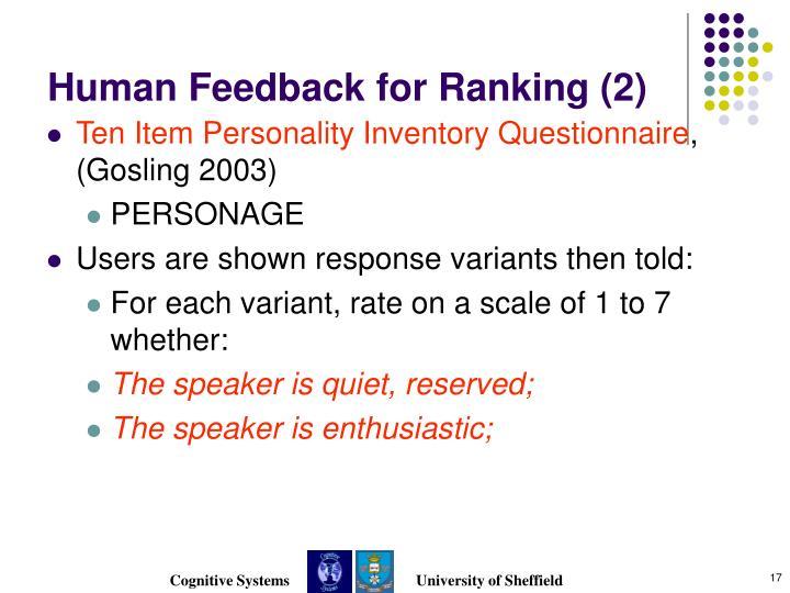 Human Feedback for Ranking (2)