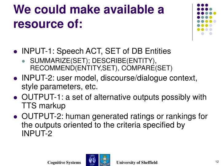 We could make available a resource of: