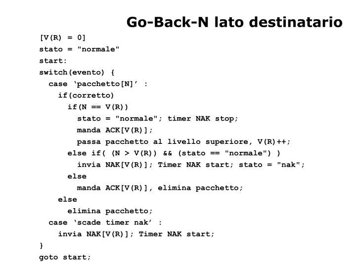 Go-Back-N lato destinatario