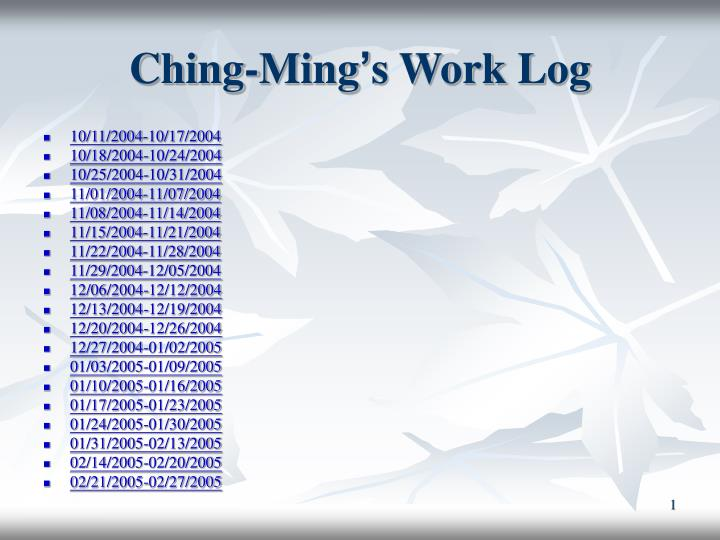 ching ming s work log n.