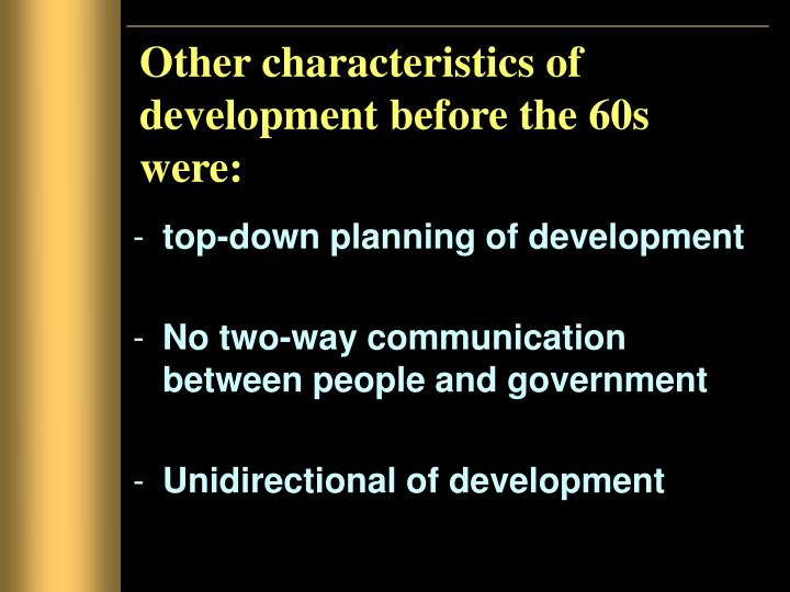Other characteristics of