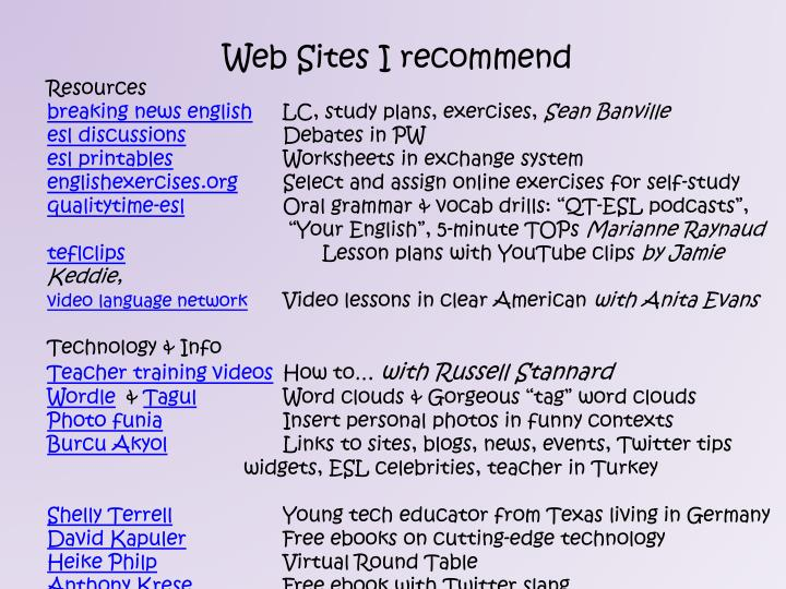 PPT - Web Sites I recommend Resources PowerPoint