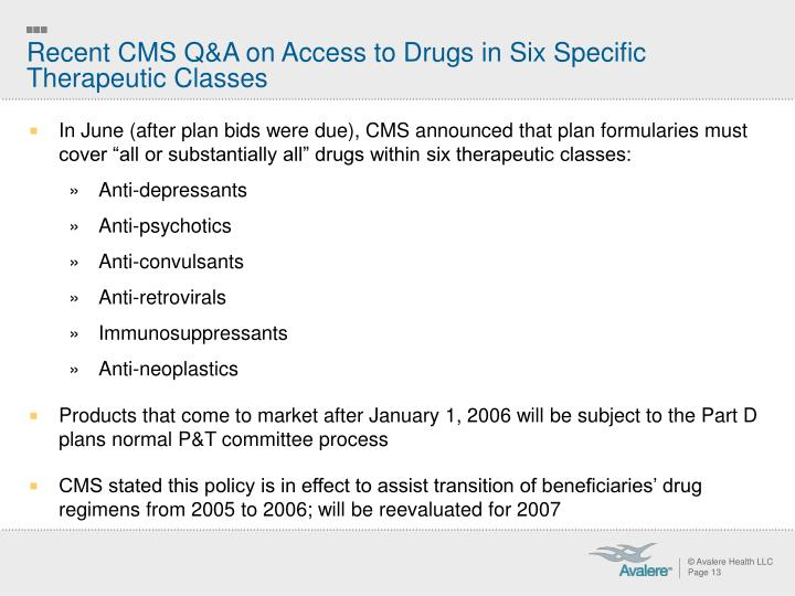Recent CMS Q&A on Access to Drugs in Six Specific Therapeutic Classes