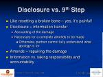 disclosure vs 9 th step1