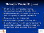 therapist preamble cont d