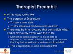 therapist preamble