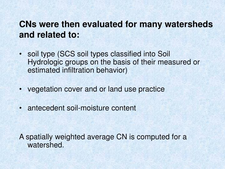 CNs were then evaluated for many watersheds and related to: