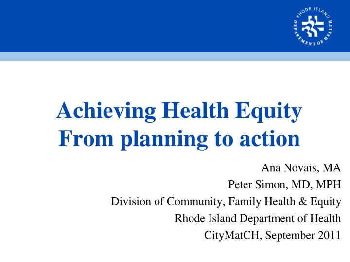 achieving health equity from planning to action n.