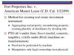 fort properties inc v american master lease c d cal 1 22 09