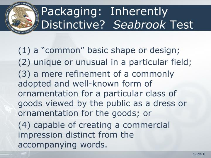 Packaging:  Inherently Distinctive?