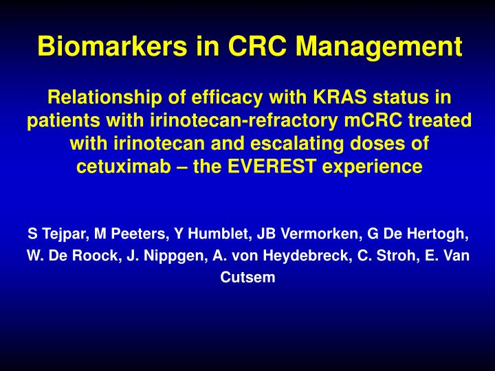 Biomarkers in CRC Management