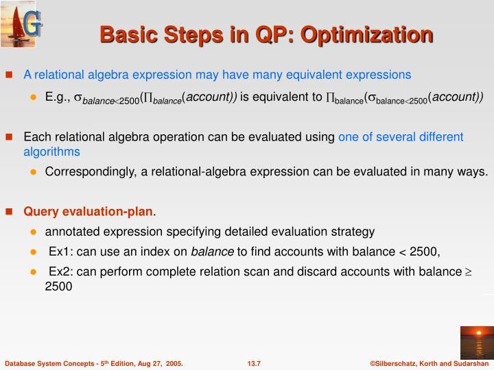 Basic Steps in QP: Optimization