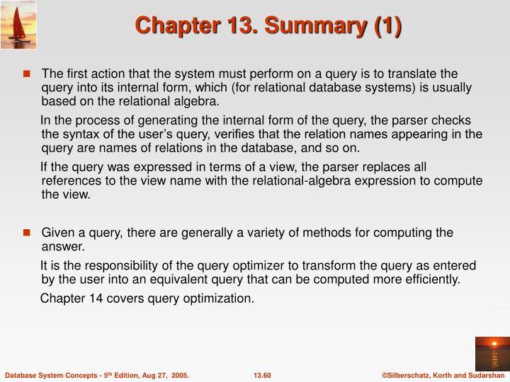 Chapter 13. Summary (1)