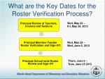 what are the key dates for the roster verification process