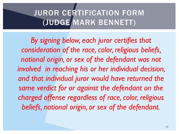 Juror certification form