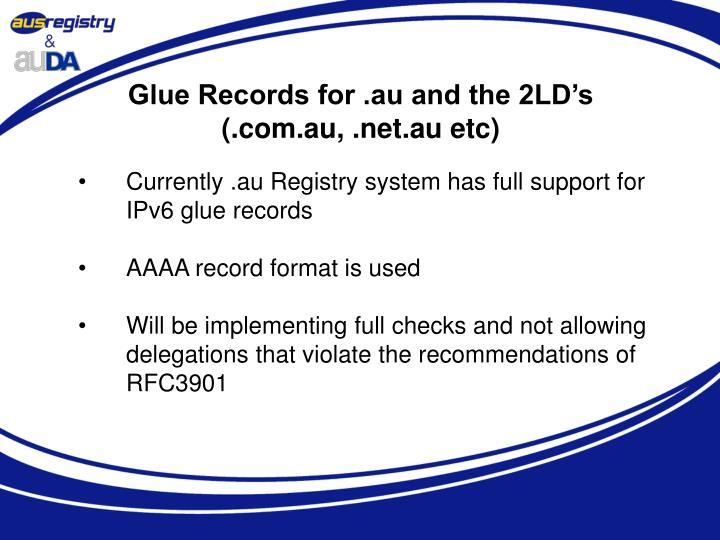 Glue Records for .au and the 2LD's