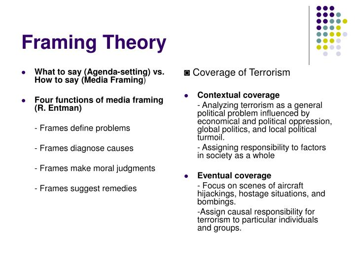 framing and agenda setting bias in Field video project eng 3860 this video takes a quick and brief look into three theories: agenda setting, priming, and framing sources: google images advanced image search - all photo's used were.
