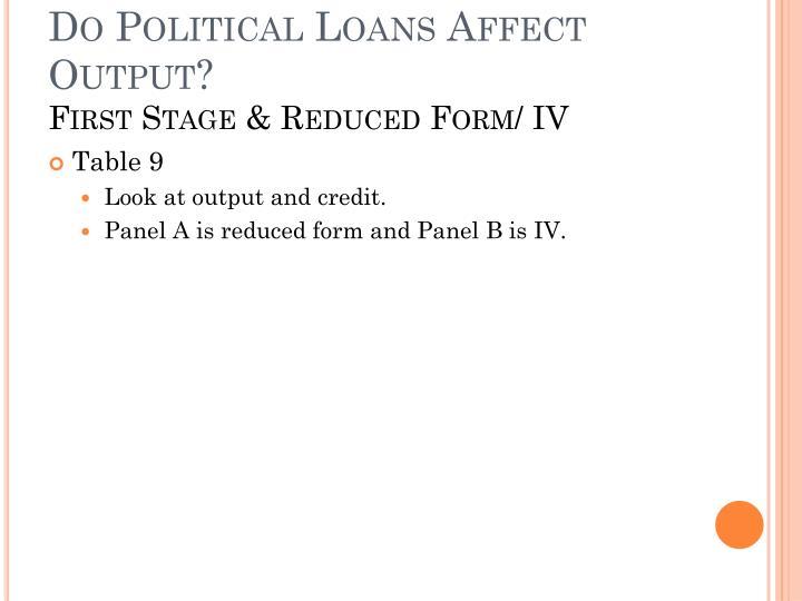 Do Political Loans Affect Output?