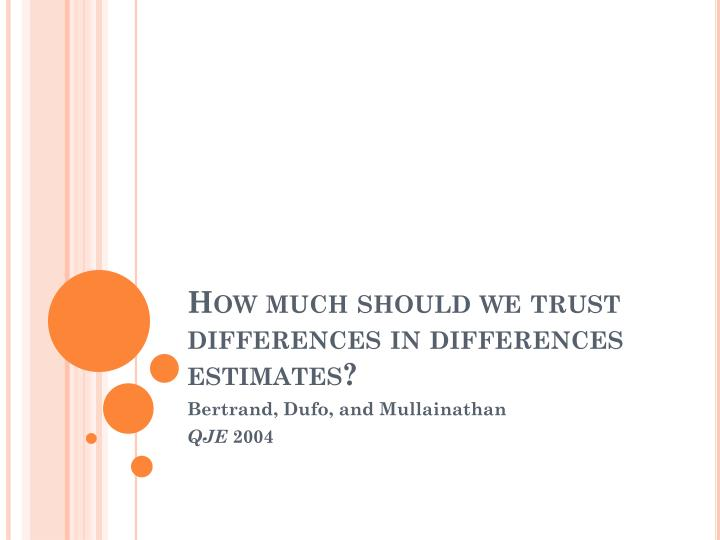 How much should we trust differences in differences estimates?