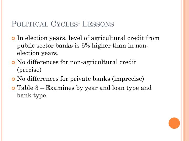 Political Cycles: Lessons