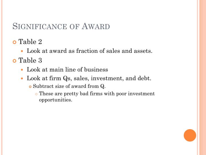 Significance of Award