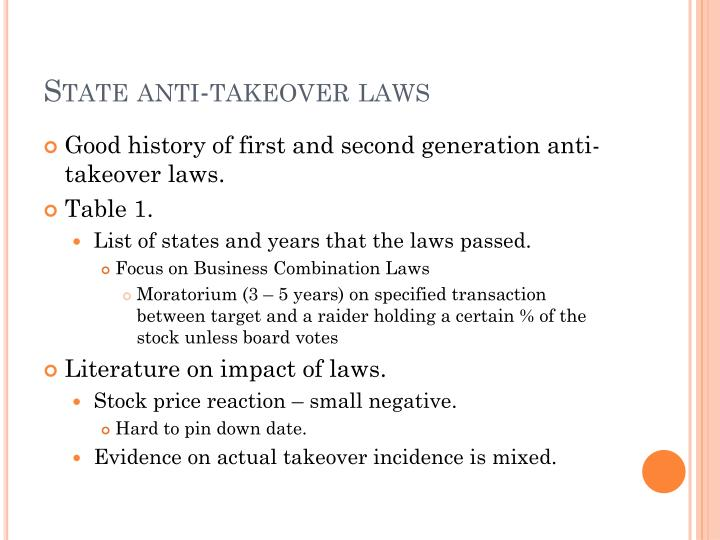 State anti-takeover laws