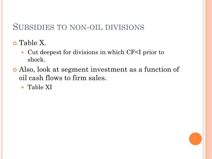 Subsidies to non-oil divisions