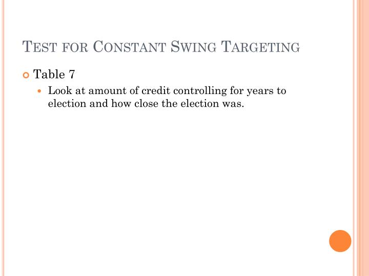 Test for Constant Swing Targeting