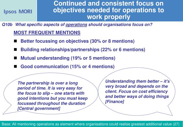 Continued and consistent focus on objectives needed for operations to work properly