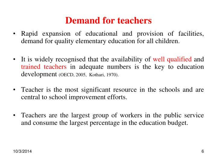 Demand for teachers
