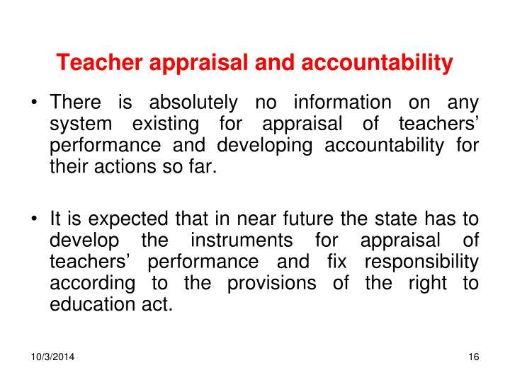 Teacher appraisal and accountability