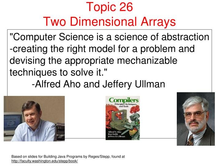 topic 26 two dimensional arrays n.