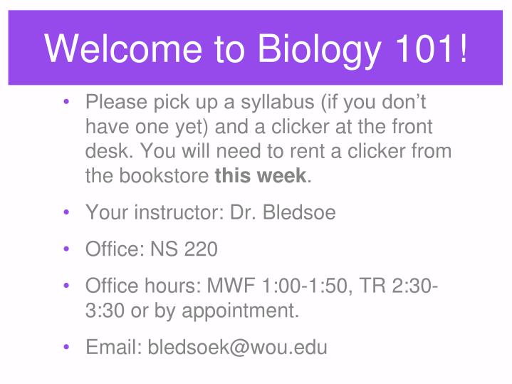 welcome to biology 101 n.