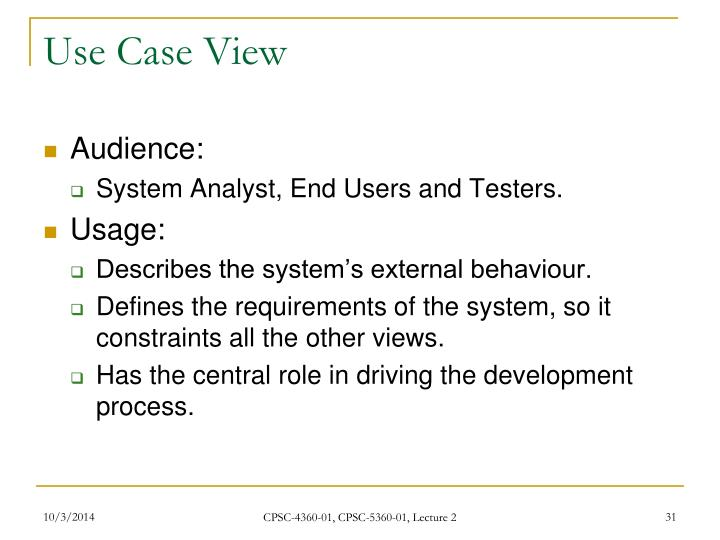 Use Case View