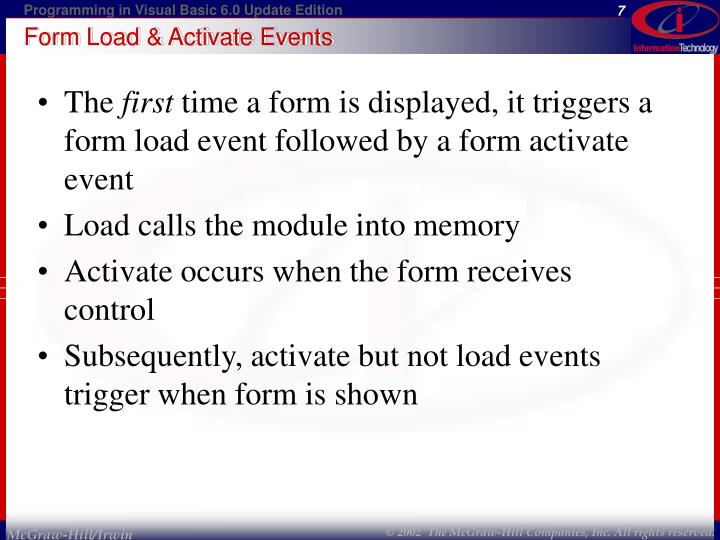 Form Load & Activate Events