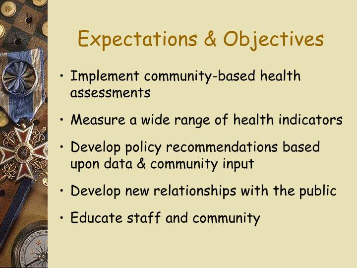 Expectations & Objectives