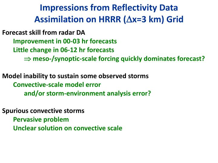 Impressions from Reflectivity Data