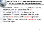 our qed use 0 to separate different codes will never encounter the overflow problem