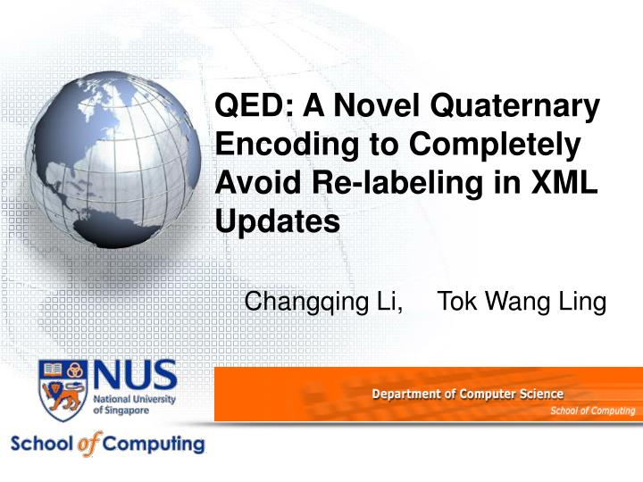 qed a novel quaternary encoding to completely avoid re labeling in xml updates n.