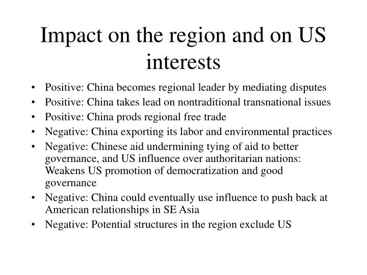 Impact on the region and on US interests