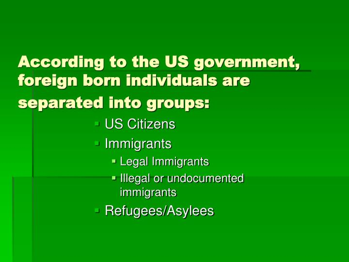 According to the US government, foreign born individuals are separated into groups: