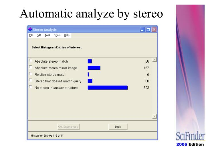 Automatic analyze by stereo
