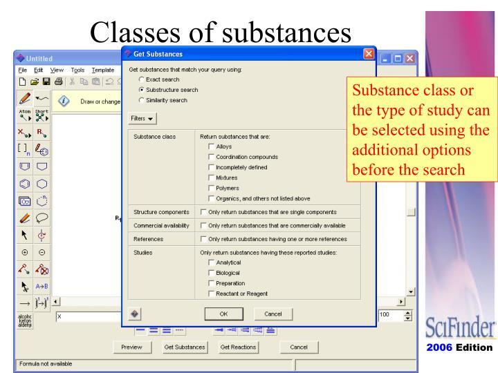 Classes of substances