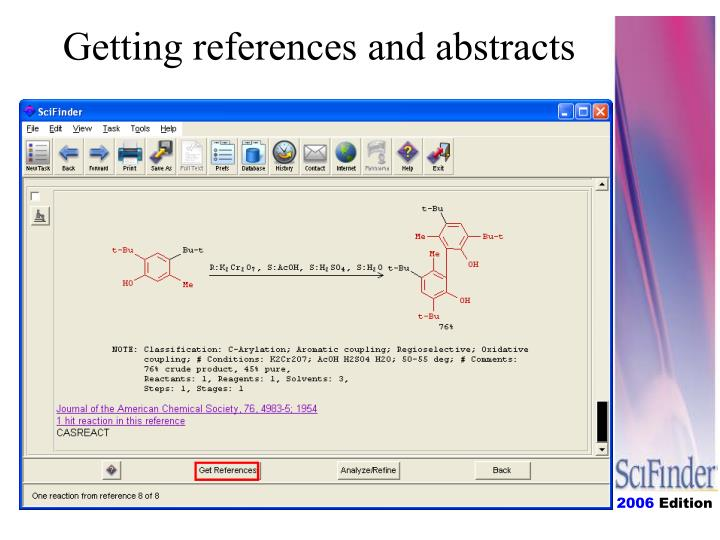 Getting references and abstracts