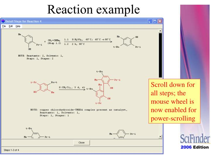 Reaction example