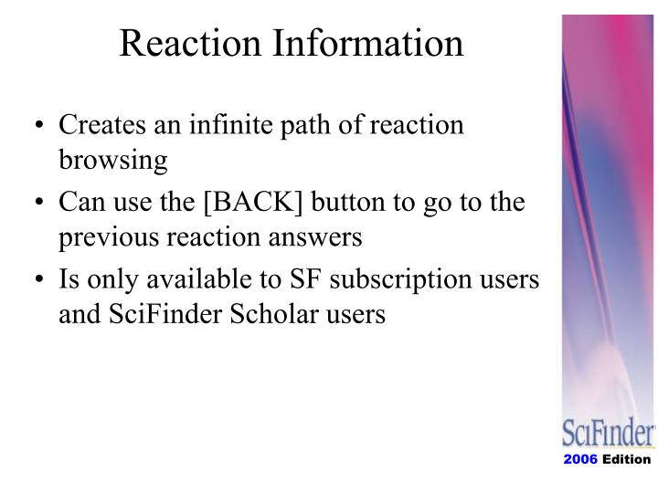 Reaction Information
