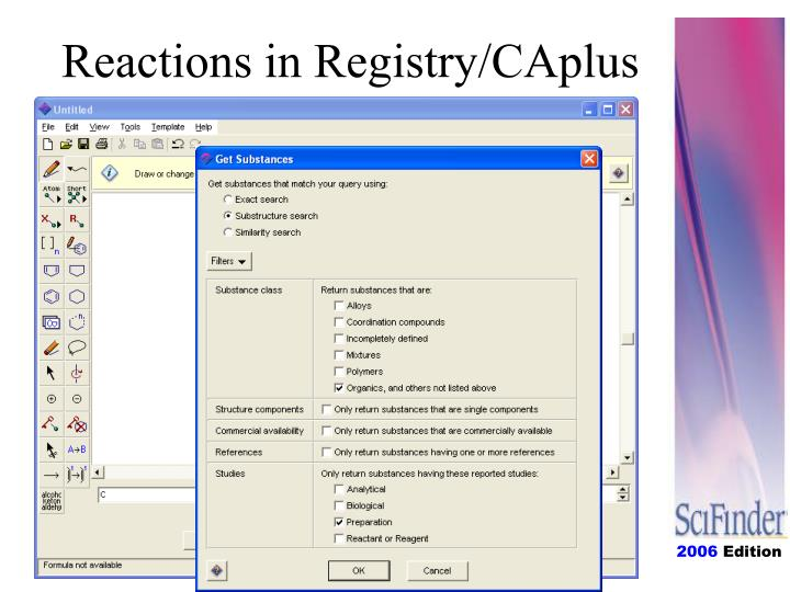 Reactions in Registry/CAplus